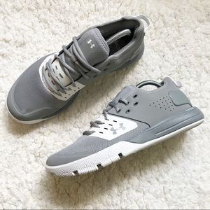 UA: Men's Gray White Charged Ultimate 3 Sneaker